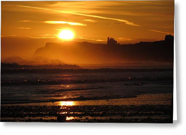 Sunrise Over Sandsend Beach Greeting Card by RKAB Works