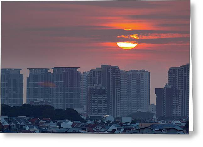 Sunrise Over Singapore Residential Neighborhood Greeting Card