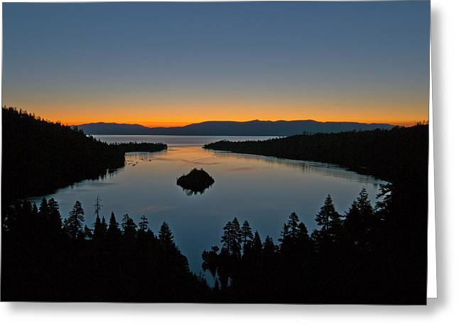 Sunrise Over South Lake Tahoe - Emerald Bay Greeting Card by Brendan Reals