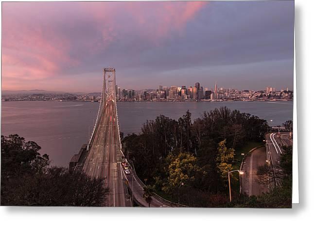Sunrise Over The Bay Bbridge Greeting Card