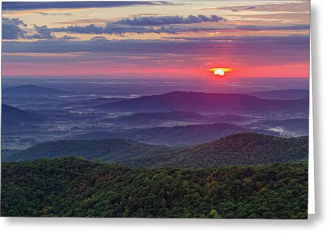 Greeting Card featuring the photograph Sunrise Over The Blue Ridge by Lori Coleman