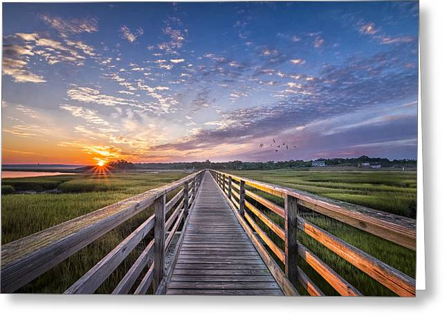 Sunrise Over The Boardwalk Greeting Card by Betty Wiley