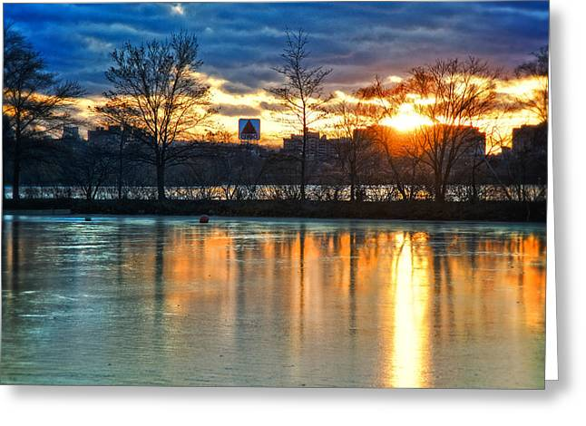 Sunrise Over The Citgo Sign And Charles River - Boston Greeting Card