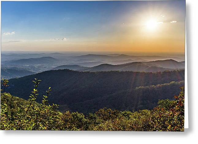 Greeting Card featuring the photograph Sunrise Over The Misty Mountains by Lori Coleman