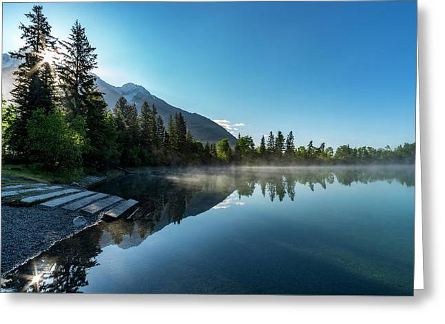Greeting Card featuring the photograph Sunrise Over The Mountain And Through The Tree by Darcy Michaelchuk