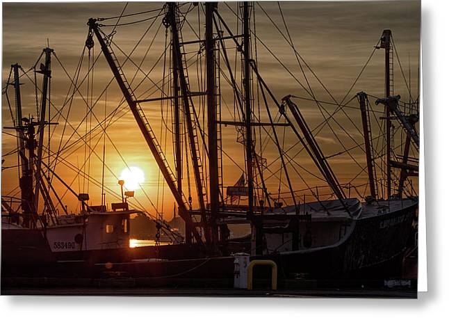 Sunrise Over The New Bedford Harbor Greeting Card by John Hoey