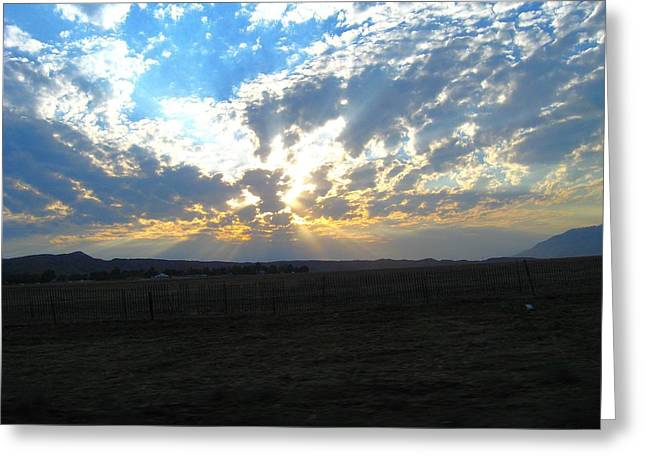 Sunrise Over The Pass Greeting Card by Mitch Hino