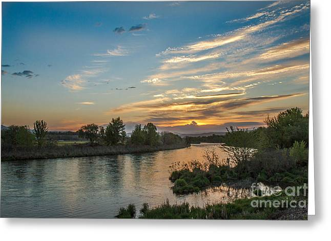 Sunrise Over The Payette River Greeting Card by Robert Bales