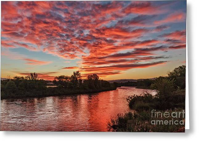 Sunrise Over The Payette Greeting Card by Robert Bales