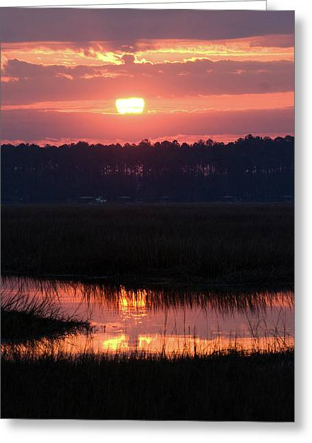 Sunrise Over The River Greeting Card by Margaret Palmer