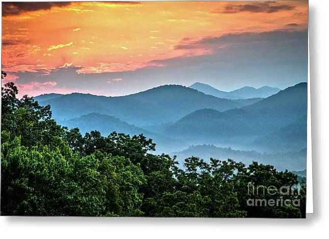 Greeting Card featuring the photograph Sunrise Over The Smoky's by Douglas Stucky