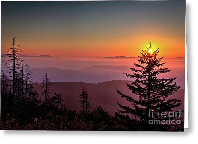 Greeting Card featuring the photograph Sunrise Over The Smoky's IIi by Douglas Stucky