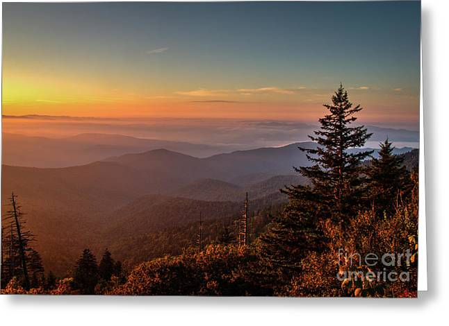 Greeting Card featuring the photograph Sunrise Over The Smoky's V by Douglas Stucky