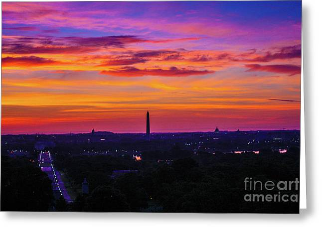 Sunrise Over The Washington Monument Greeting Card