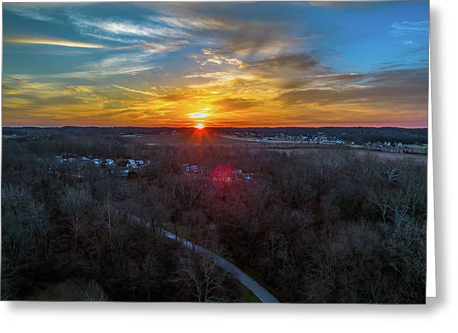 Sunrise Over The Woods Greeting Card