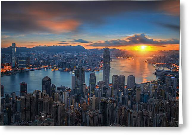 Sunrise Over Victoria Harbor As Viewed Atop Victoria Peak Greeting Card by Anek Suwannaphoom