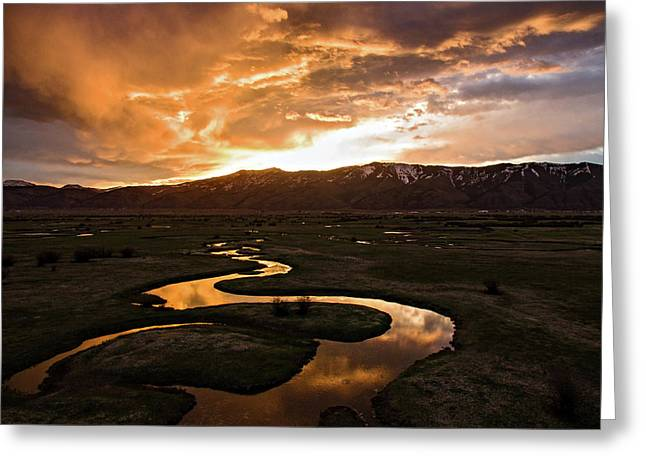 Sunrise Over Winding River Greeting Card