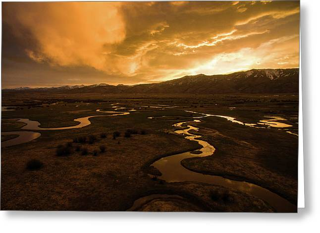 Sunrise Over Winding Rivers Greeting Card