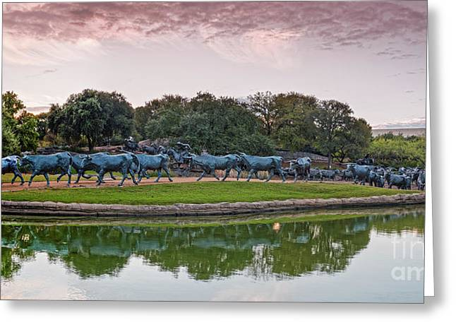 Sunrise Panorama Of Cattle Drive Sculpture At Pioneer Plaza - Downtown Dallas North Texas Greeting Card