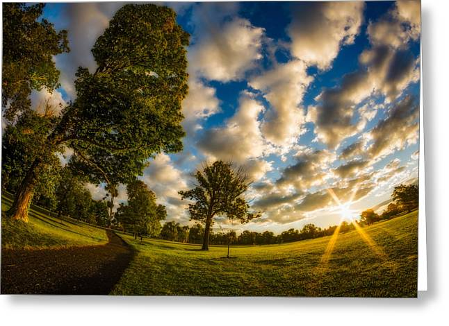 Greeting Card featuring the photograph Sunrise Path At Meadows Edge by Chris Bordeleau