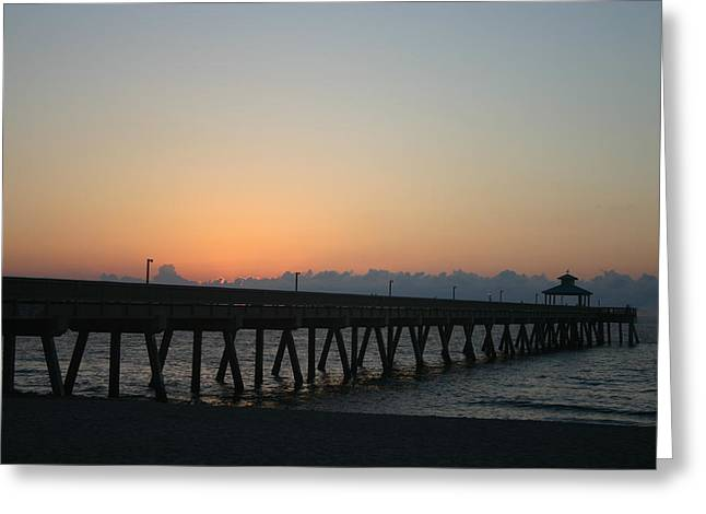 Sunrise Pier Greeting Card by Dennis Curry