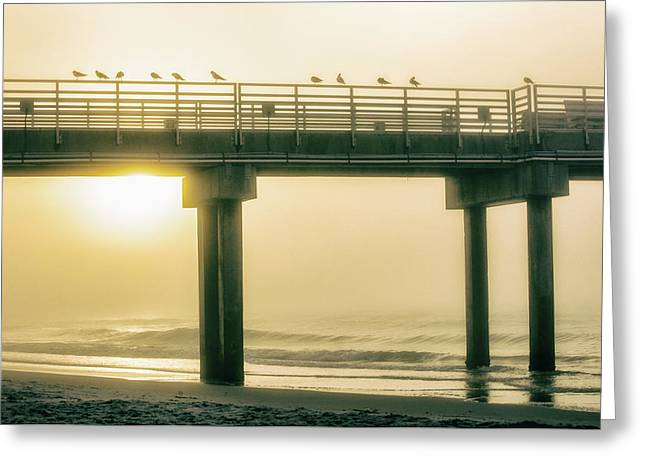 Greeting Card featuring the photograph Sunrise Pier In Alabama  by John McGraw