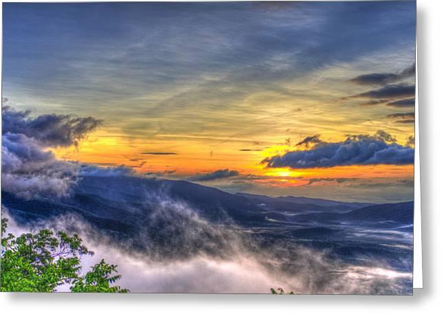 Sunrise Pink Beds Overlook Blue Ridge Parkway Greeting Card by Reid Callaway