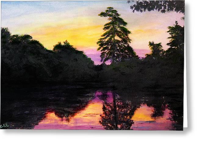 Sunrise Pond Maryland Landscape Original Fine Art Painting Greeting Card