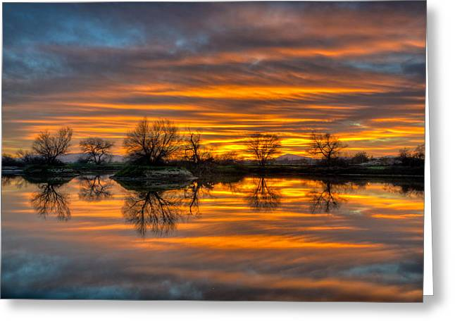 Sunrise Reflection In The River Greeting Card