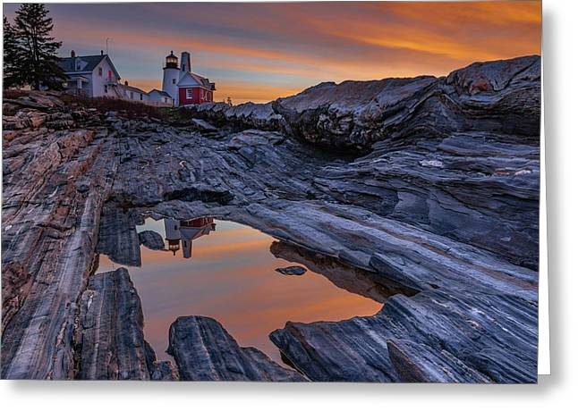 Sunrise Reflections At Pemaquid Point Greeting Card
