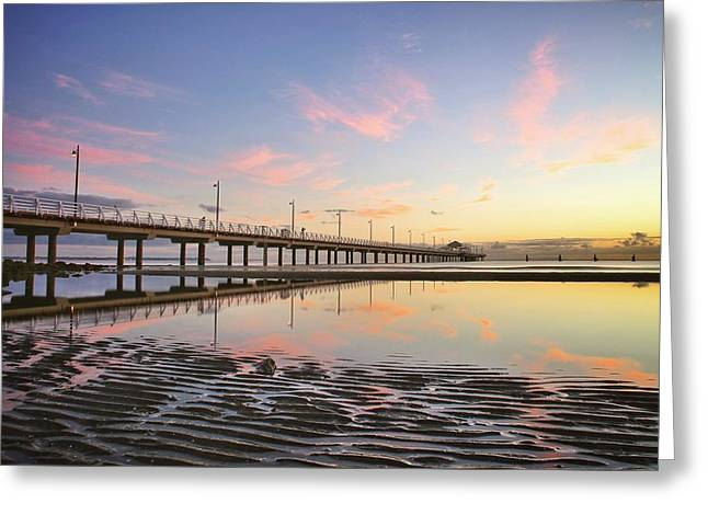 Sunrise Reflections At The Shorncliffe Pier Greeting Card