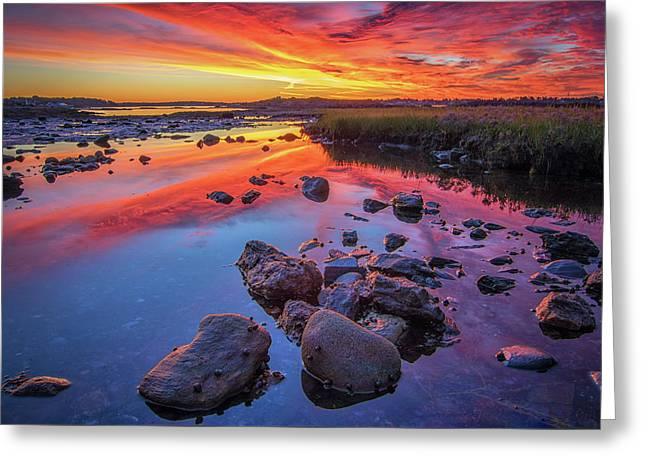 Sunrise Reflections In Harpswell Greeting Card