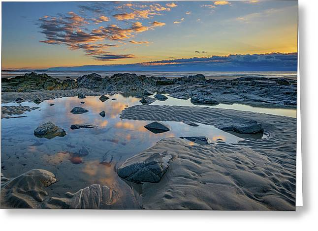 Sunrise Reflections On Wells Beach Greeting Card by Rick Berk