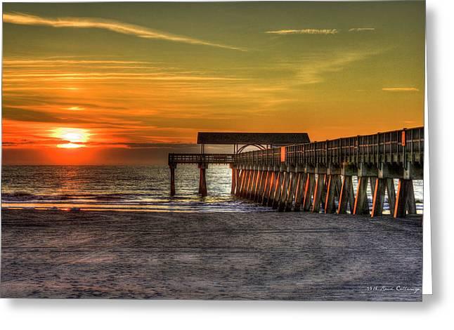Sunrise Reflections Tybee Island Pier Art Greeting Card by Reid Callaway