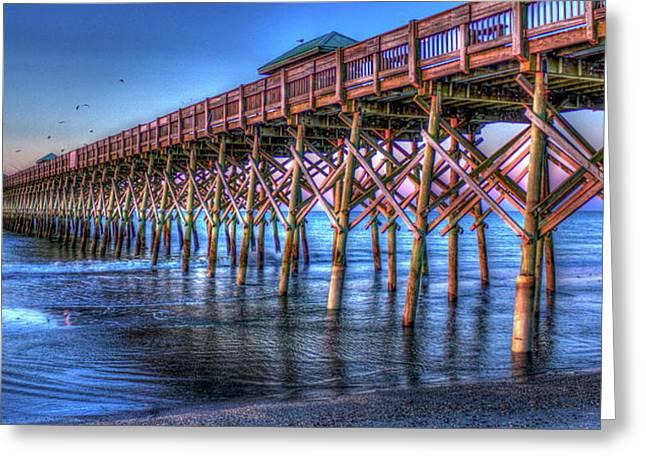 Sunrise Glow Folly Beach Pier Charleston South Carolina Greeting Card by Reid Callaway