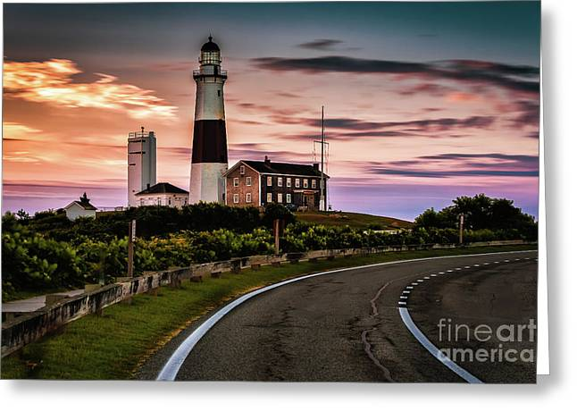 Sunrise Road To The Montauk Lighthous Greeting Card