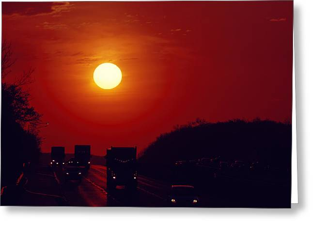 Sunrise Rush Hour Greeting Card by Eduard Moldoveanu
