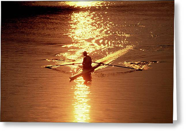 Sunrise Sculler Greeting Card