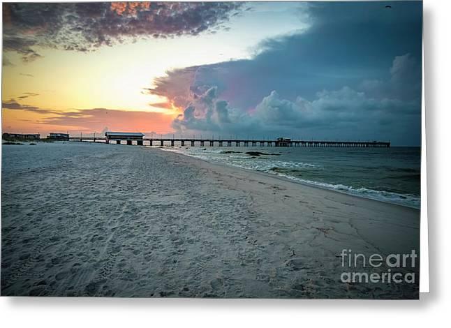 Sunrise Seascape Gulf Shores Al Pier 064a Greeting Card