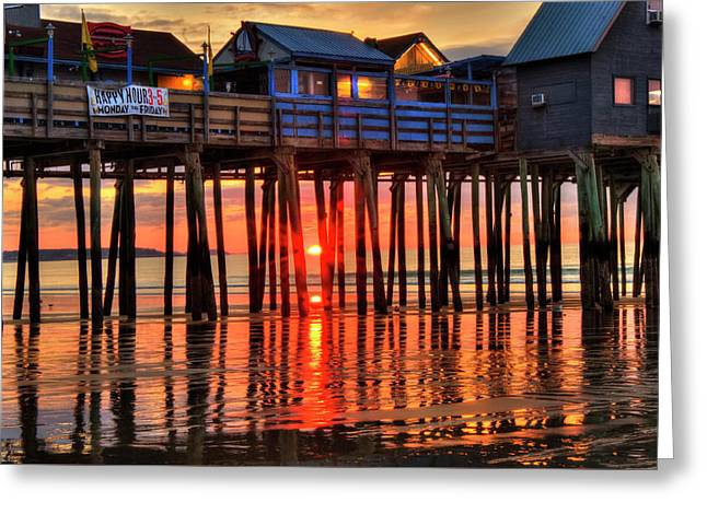 Sunrise Seascape - Old Orchard Beach Pier - Maine Greeting Card