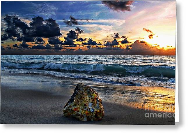 Sunrise Seascape Wisdom Beach Florida C3 Greeting Card by Ricardos Creations