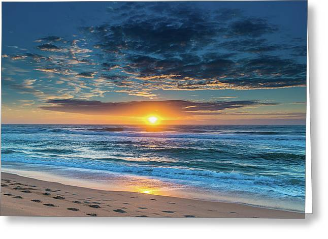 Sunrise Seascape With Footprints In The Sand Greeting Card