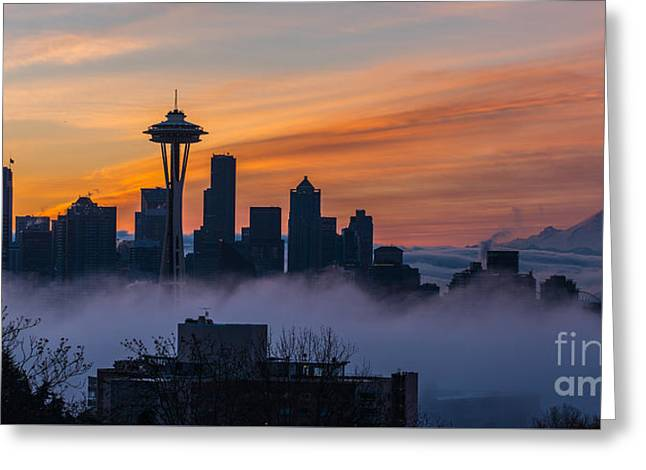 Sunrise Seattle Skyline Above The Fog Greeting Card by Mike Reid