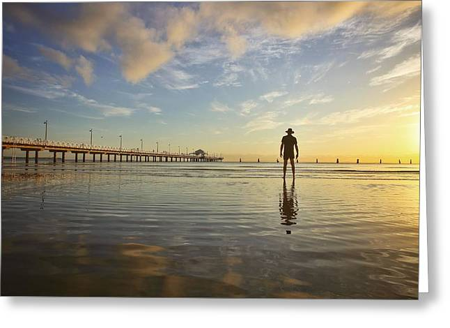 Sunrise Silhouette Down By The Pier. Greeting Card