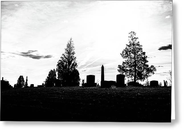 Sunrise Sillouette Of Riverside Cemetery Greeting Card by Philip Rodgers