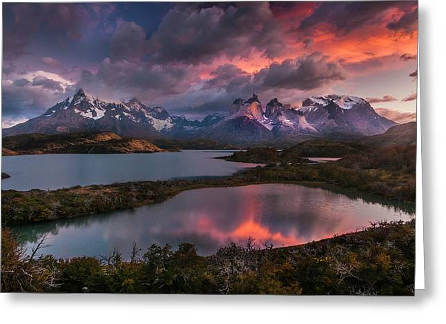 Sunrise Spectacular At Torres Del Paine. Greeting Card