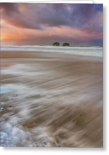 Greeting Card featuring the photograph Sunrise Storm At Twin Rocks by Darren White