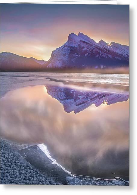 Sunrise Sunburst // Vermillion Lakes, Alberta Greeting Card