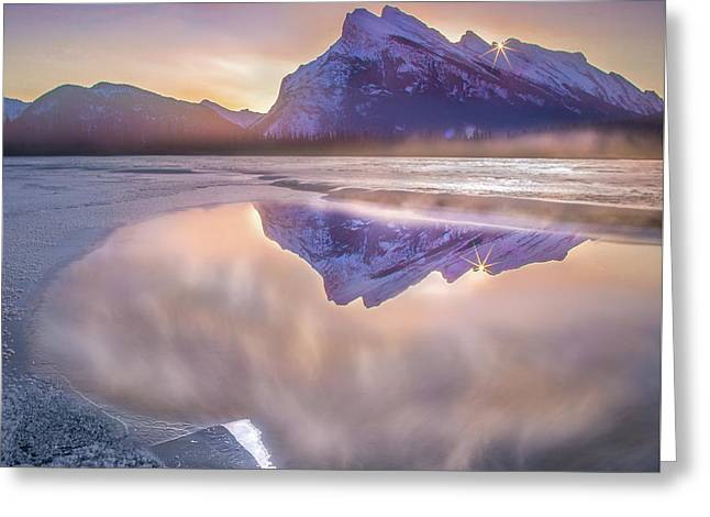 Sunrise Sunburst // Vermillion Lakes, Alberta Greeting Card