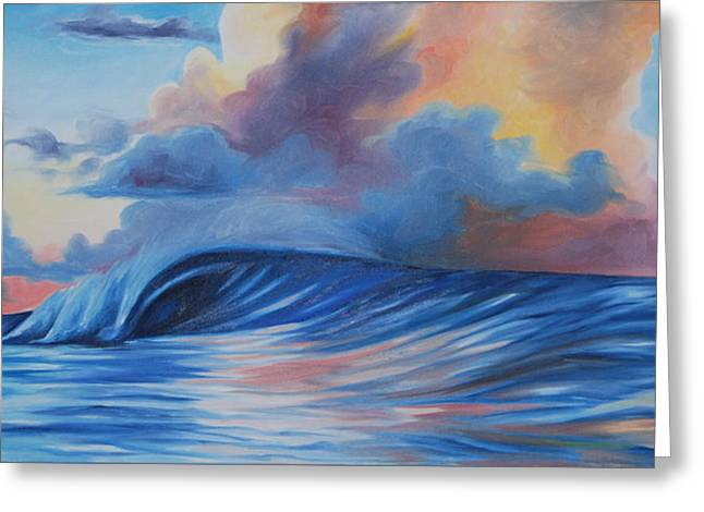 Sunrise Surf Greeting Card by Katherine  Fyall